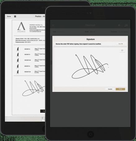 Estalvia temps i tasques administratives mitjançant l'App Signar Documents que permet signar tots els documents directament a la pantalla del dispositiu mòbil, amb validesa legal, i agilitza els processos interns protegint els continguts confidencials amb apps empresarials