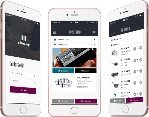 La app Inventarios es la forma más rápida y económica de realizar inventarios de toda la empresa: en tiendas y almacenes ahorra tiempo y dinero